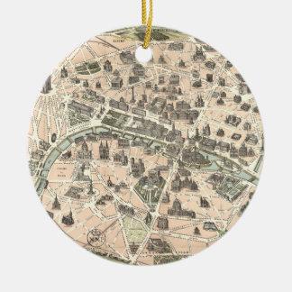 Nouveau Paris Monumental Map Ceramic Ornament