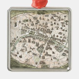 Nouveau Paris Monumental Map Metal Ornament