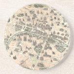 Nouveau Paris Monumental Map Sandstone Coaster