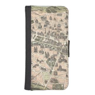 Nouveau Paris Monumental Map Wallet Phone Case For iPhone SE/5/5s