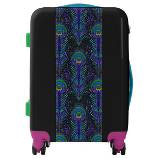 Nouveau peacock feather carry on suitcase luggage