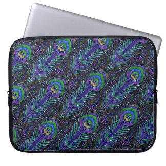 nouveau peacock feather print laptop sleeve