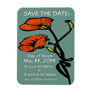 Nouveau Poppies (Save The Date Magnet) Magnet