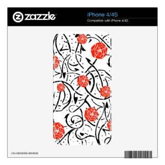Nouveau Red Rose Vine Illustration Phone Decal Decals For iPhone 4