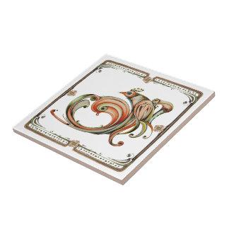 Nouveau Ribbon Bird Ceramic Tile