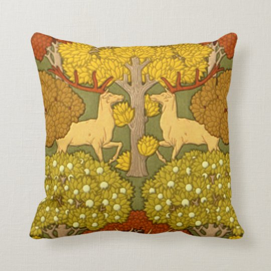 Nouveau Stag and Trees Print Throw Pillow