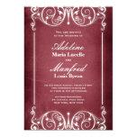 Nouveau Victorian: Burgundy & White Wedding 5x7 Paper Invitation Card