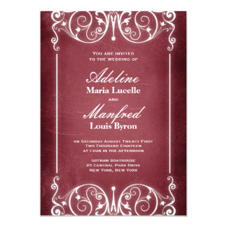 Nouveau Victorian: Burgundy & White Wedding 5x7 Paper Invitation Card