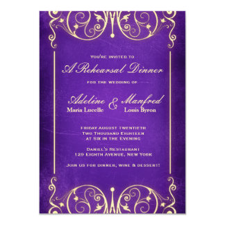 Nouveau Victorian Gold Aubergine Rehearsal Dinner 4.5x6.25 Paper Invitation Card