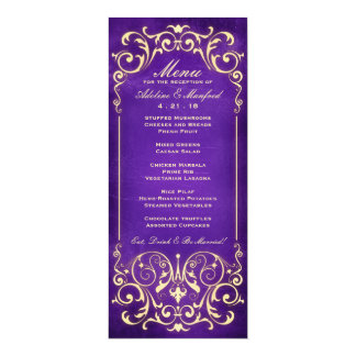 Nouveau Victorian: Gold & Aubergine Wedding Menu Custom Invites