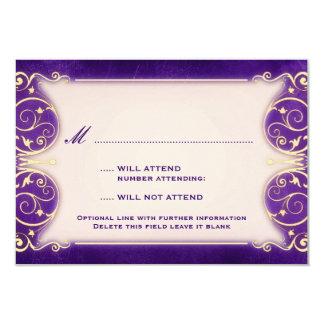 Nouveau Victorian: Pale Gold & Aubergine RSVP 3.5x5 Paper Invitation Card