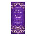 Nouveau Victorian: Pale Gold & Aubergine Wedding Card