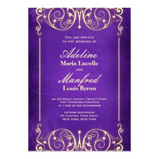 Nouveau Victorian: Pale Gold & Aubergine Wedding 5x7 Paper Invitation Card