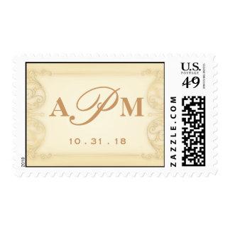 Nouveau Victorian: Pale Gold Fancy Monogram Stamp