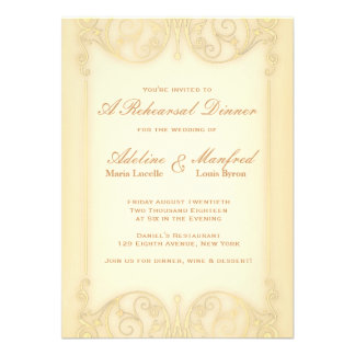 Nouveau Victorian Pale Gold Fancy Rehearsal Dinner Custom Invites