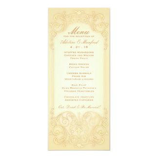Nouveau Victorian: Pale Gold Fancy Wedding Menu 4x9.25 Paper Invitation Card