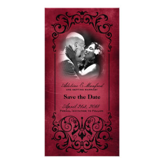 Nouveau Victorian: Red & Black Save the Date Photo Card
