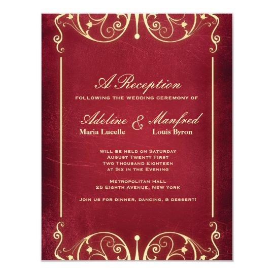 Nouveau Victorian: Red & Gold Reception Card