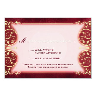 "Nouveau Victorian: Red & Gold RSVP 3.5"" X 5"" Invitation Card"