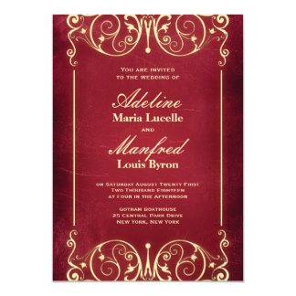 Nouveau Victorian: Red & Gold Wedding 5x7 Paper Invitation Card