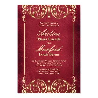 Nouveau Victorian: Red & Gold Wedding 5x7 Paper Invitation Card