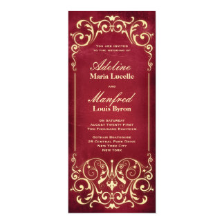 Nouveau Victorian: Red & Gold Wedding 4x9.25 Paper Invitation Card