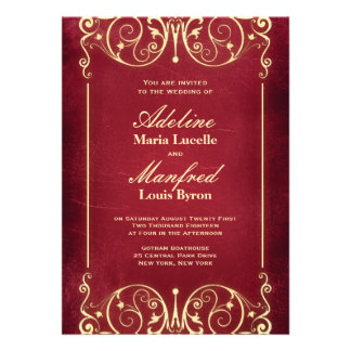 Nouveau Victorian: Red & Gold Wedding Invites