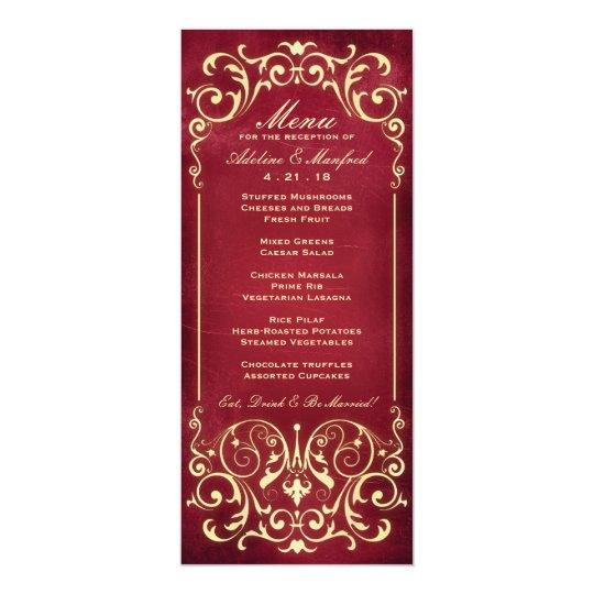 Nouveau victorian red gold wedding menu card zazzle nouveau victorian red gold wedding menu card stopboris Choice Image