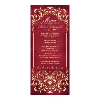 Nouveau Victorian: Red & Gold Wedding Menu 4x9.25 Paper Invitation Card