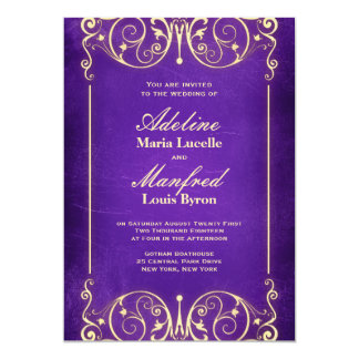 Nouveau Victorian | Vintage Purple & Gold Wedding Card