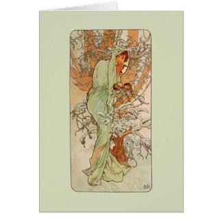 Nouveau Winter Girl Note Card