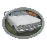 Nova chevy blanca 1963 con vista delantera del cro hebilla cinturon oval