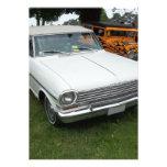 Nova chevy blanca 1963 con vista delantera del cro invitación personalizada