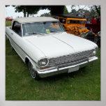 Nova chevy blanca 1963 con vista delantera del cro poster