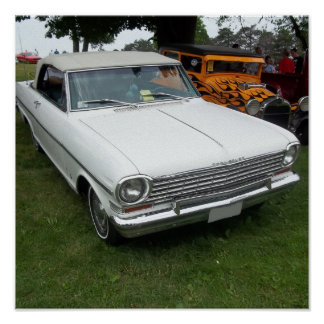 Nova chevy blanca 1963 con vista delantera del cro póster