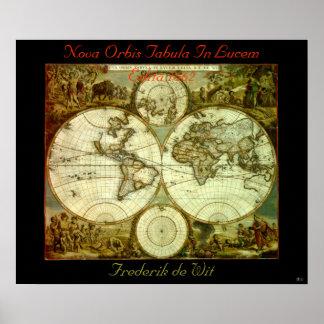 NOVA ORBIS TABULA IN LUCEM EDITA 1662 POSTER