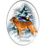 "Nova Scotia Duck Tolling Retriever Christmas Gifts Cutout<br><div class=""desc"">Nova Scotia Duck Tolling Retriever Christmas art with a stunning duck toller in front of a decorated woodland tree. Beautiful print of a variety of holiday gifts merchandise.</div>"