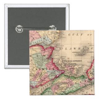 Nova Scotia, New Brunswick, Map by Mitchell Pinback Button