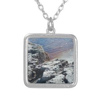 Nova Scotia: Rocks and Ocean Square Pendant Necklace