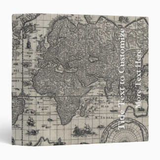 Nova totius terrarum, 1606 Antique World Map 3 Ring Binder