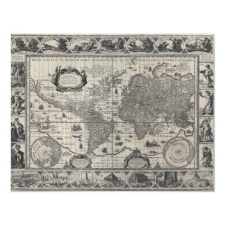 Nova totius terrarum, 1606 Antique World Map Card