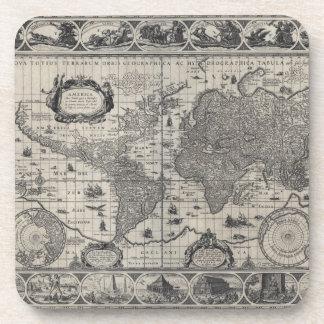 Nova totius terrarum, 1606 Antique World Map Drink Coaster