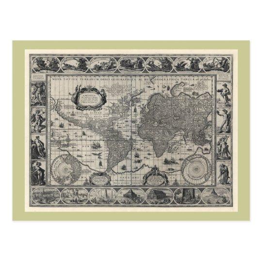 Nova totius terrarum, 1606 Antique World Map Postcard