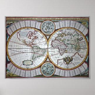 Nova Totius Terrarum Orbis Geographica as Hydrogra Poster