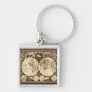 Nova totius terrarum orbis tabula auctore Silver-Colored square keychain