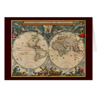 Nova Totius Terrarum Orbis Tabula World Map Card