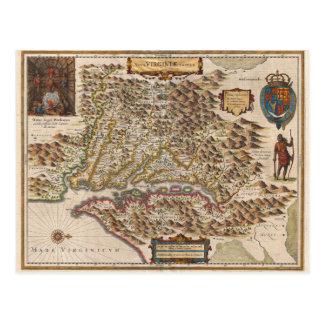Nova Virginiae Tabula 1630 Henricus Hondius Map Postcard