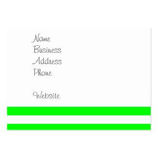 Novedad de neón del verde lima y blanca de las tarjetas de visita grandes