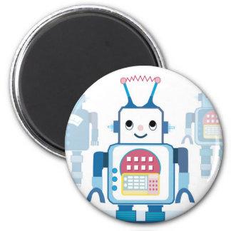 Novedades azules frescas de los regalos del robot imán redondo 5 cm