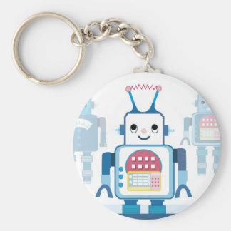 Novedades azules frescas de los regalos del robot llavero redondo tipo pin